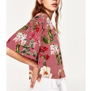 Zara red striped floral bell sleeve top